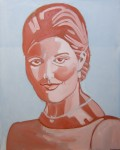 Girl in azure and red 80X100 cm
