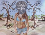 Young Woman with ancient mask, 90X70 cm, 2011