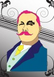 A Man with pink mustache