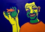 Man with Fish - Acrylic on canvas 50X70cm